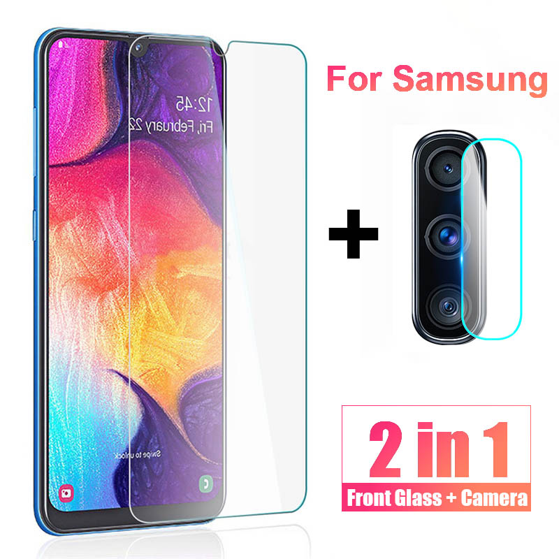 2 in 1 Screen Protector <font><b>glass</b></font> for <font><b>Samsung</b></font> Galaxy A50 Camera Lens Film for <font><b>Samsung</b></font> A30 A20 <font><b>A</b></font> 50 <font><b>20</b></font> Protective Film Tempered glas image