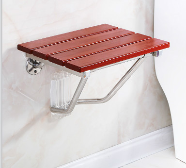 Bathroom Wall Seat Stool Solid Wood Bath Folding Stool Seat Non-slip Shower Wall Chair Living Room Wall Hanging Shoe Bench