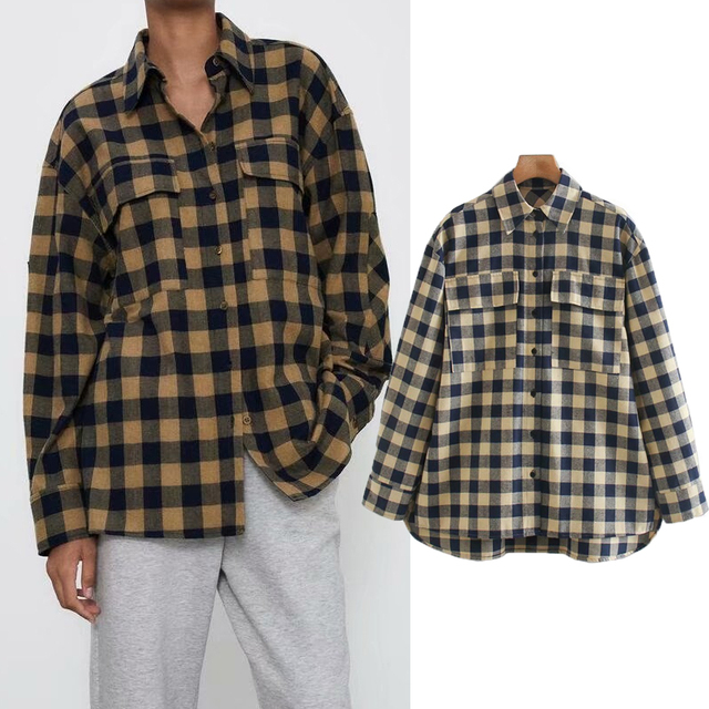 ZA 2020 New Fashion Women Plaid printing chiffon shirt Turn down Collar Blouses Long Sleeve Chiffon Shirt Casual Loose Tops 1