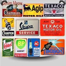 Champion bujías Vintage Metal signos Vespa Motor aceite Gas servicio hierro placa garaje Pub arte pintura carteles decoración del hogar WY20