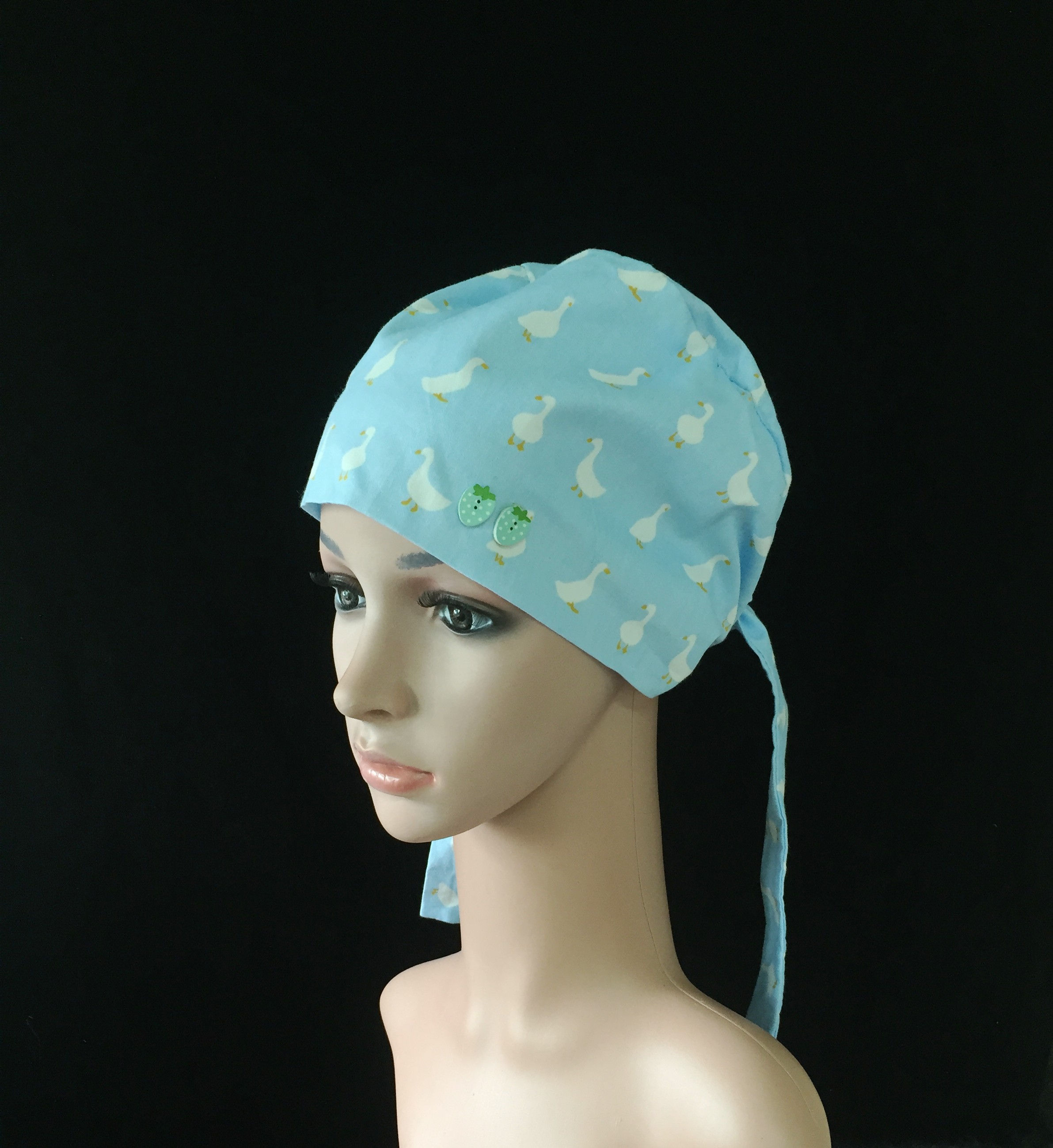 Blue Duckling Cucurbitor Hourd Hat with Additional Mask for Atmospheric Pure Cotton Hairdresser Anesthesiologist Pet Doctor