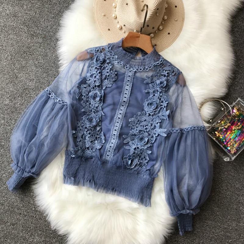 Женское прозрачное Сетчатое блузка с рукавами клеш кружева крючком сетки Blusas рюшами блузка с эластичным Cami Дамы топ костюмы