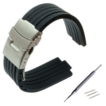 23mm 24mm x 9mm 10mm 11mm Convex Watch Band Silicone Rubber Watchband Stainless Steel Safety Buckle Strap Wrist Belt Bracelet 24mm silicone rubber watch band for sony smartwatch 2 sw2 dual brush 316l stainless steel buckle strap wrist belt bracelet black