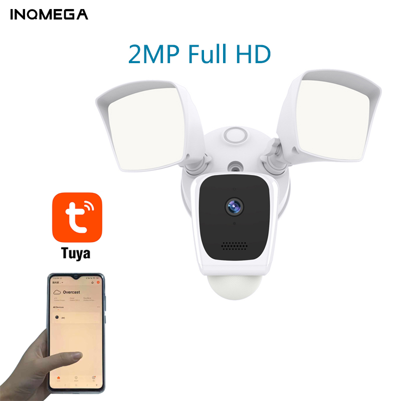 INQMEGA Tuya Floodlight Full HD Wifi Outdoor Camera IP65 Security IP Camera With Build In Alarm Two Way Audio PIR Detection Cam