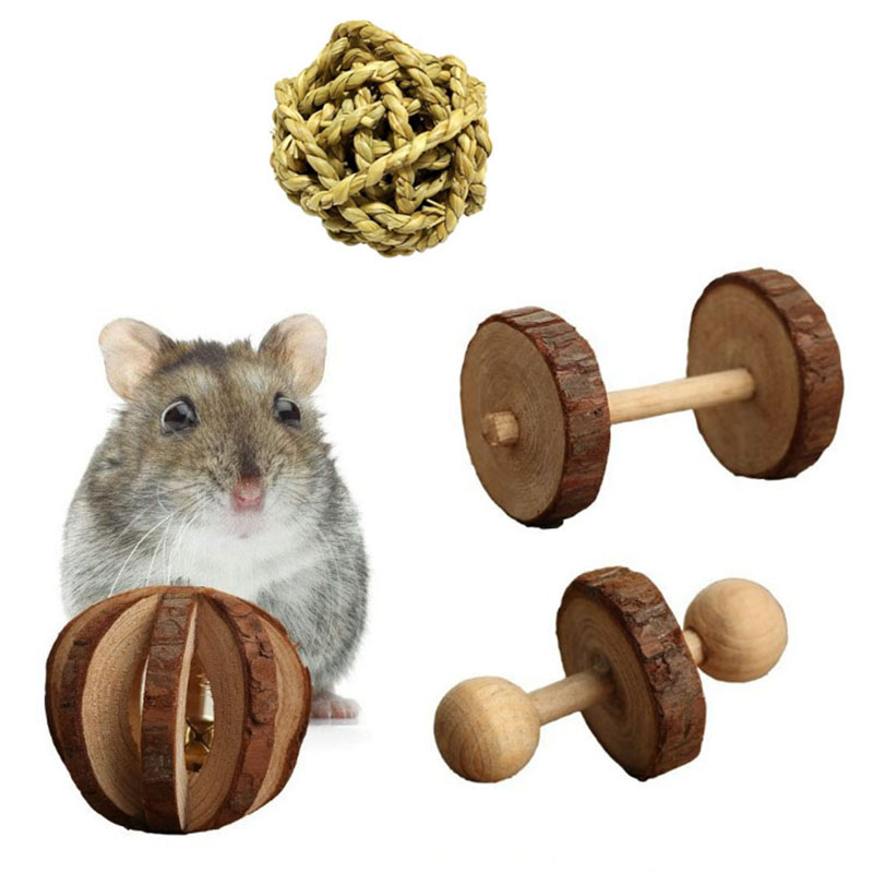 Wooden Pet Toys Molar Chew Toy Unilateral Barbell Grass Ball Toy For Hamster Toys Speelgoed