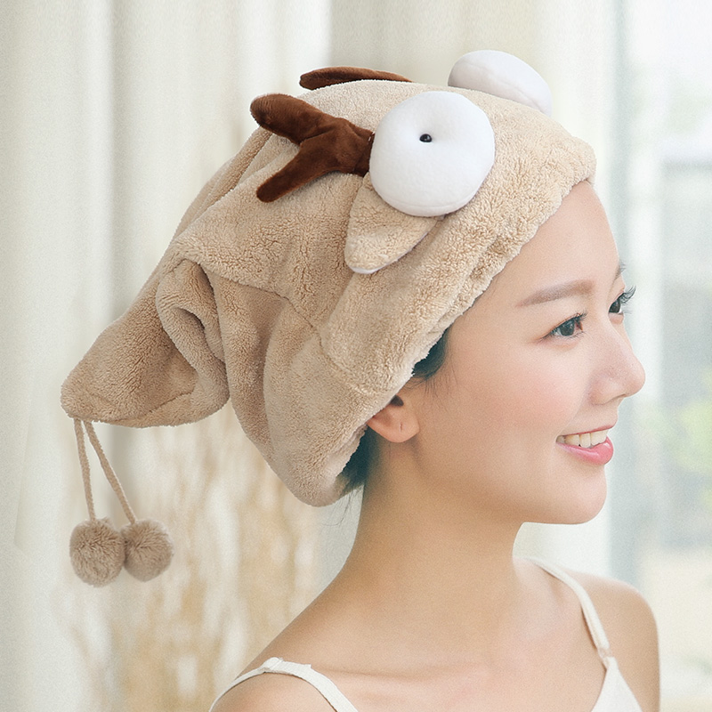 ZhangJi Cartoon Bath Hair Dry Cap Velvet Cute Hair Shower Hat Drying Towel Quick Dry Cap Bathroom Dry Towel Super Water Absorb