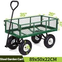 Carros de jardín, patio, carro de basura, carro de utilidad para césped, acero para el aire libre, paisaje de césped de playa de servicio pesado