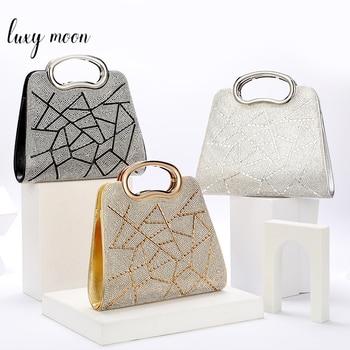 Evening  Luxury Designer Irregular Crystal Rhinestone PU Leather Shoulder Bag  1
