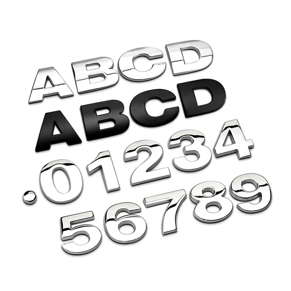 3D Алфавит металла серебро хром значок серебро буквы, цифры Автомобильные наклейки-Логотипы автомобилей аксессуары наклейки украшения
