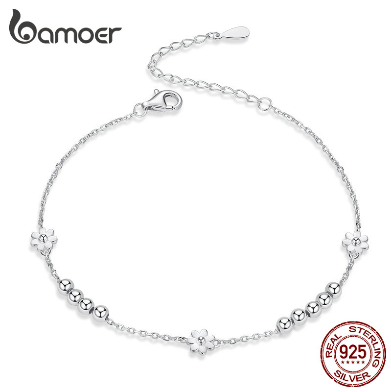 Bamoer Daisy Flower Chain Bracelet Genuine 925 Sterling Silver Beads Link Bracelets For Women Fashion Accessory For Girl SCB146