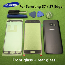 Original Front Screen Glass Lens For Samsung Galaxy S7 G930 SM G930F S7 Edge G935F Rear Battery Cover Door Back Housing + Tools