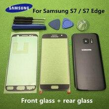 Orijinal ön ekran cam Lens Samsung Galaxy S7 G930 SM G930F S7 Kenar G935F Arka Pil Kapağı Kapı Arka Konut + Araçları