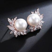 Klassische Große Runde Simulierte Perle Stud Ohrringe für Frauen Shinny Zirkonia Kristall Braut Hochzeit Partei Mode Schmuck CE0099E