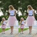 FOCUSNORM Sommer Mode Familie 2 stücke Kleidung Set Frauen Mädchen Kinder Spitze Tops Tutu Rock Familie Mom-Mädchen Passenden kleidung