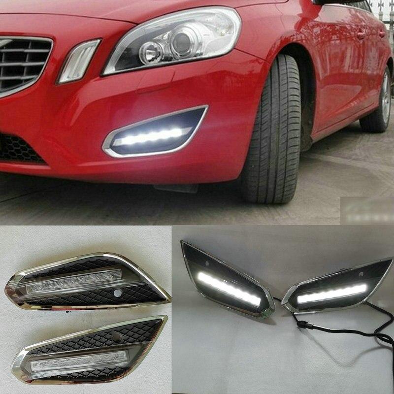 Релейный светильник для Volvo S60 V60 2011 2012 2013, водостойкий Матовый ABS автомобильный ДХО 12 В, дневные ходовые огни, светодиодный светильник s, дневн