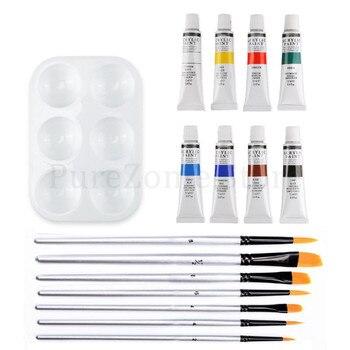 Professional 16pcs Acrylic Paints Brush Palette Set Hand Painted Wall Paint Artist Draw Painting Pigment DIY фото