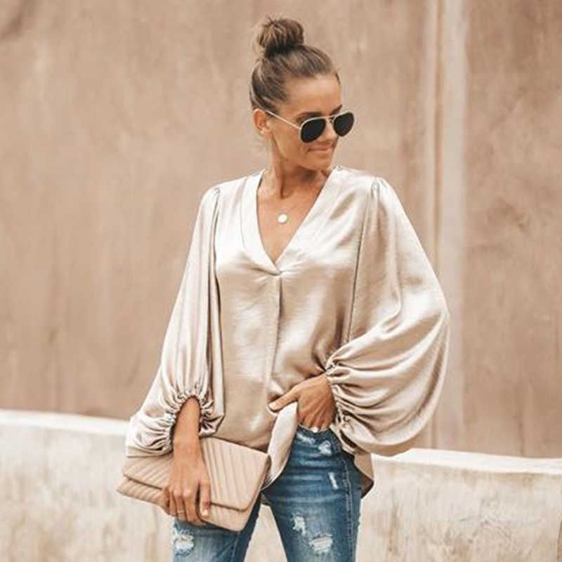 2020 Lente Vrouwen Shirt Solid Vrouw Blouse Dames Tops Lantaarn Mouw Casual V-hals Fashion Vrouwen Losse Blouses