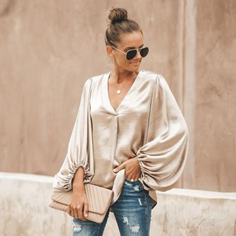 2020 Spring Women Shirt Solid Female Blouse Ladies Tops Lantern Sleeve Casual V-Neck Fashion Women's Loose Blouses(China)