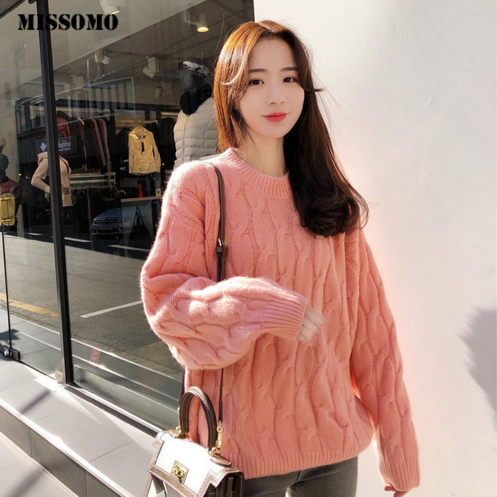MISSOMO Winter Sweater Women Casual Loose Knitting O-Neck Tops Long Sleeve Warm Lazy Wind Knit Sweater Pullover Top Pull Femme 9