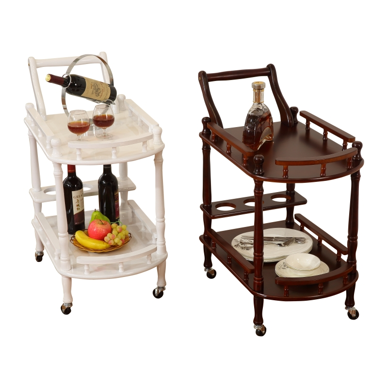 Hotel Restaurant Delivery Cart Double Deck Solid Wood Wine Cart Tea Water Cart Dessert Cart Cake Cart 4S Shop Mobile Trolley