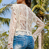 Unireal 2021 Summer Women White Lace Blouse Shirt Long Sleeve Vintage Cute Ruffle Blouse Sexy Tops 4
