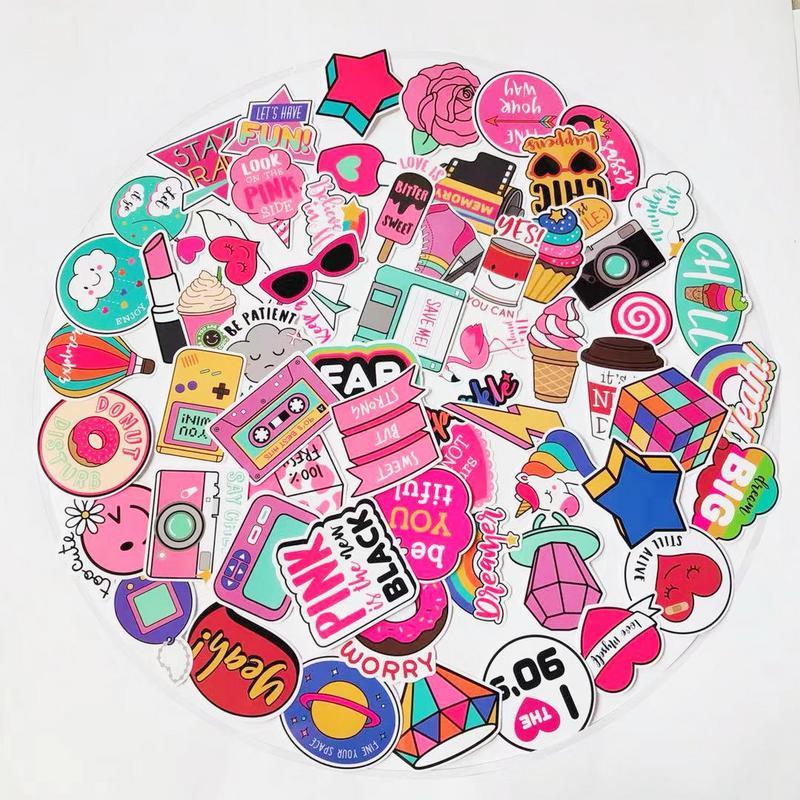60pcs Cute Girl Pink Stickers Instagram Decal Scrapbook Skateboard Suitcase Laptop Stickers Vsco Sticker