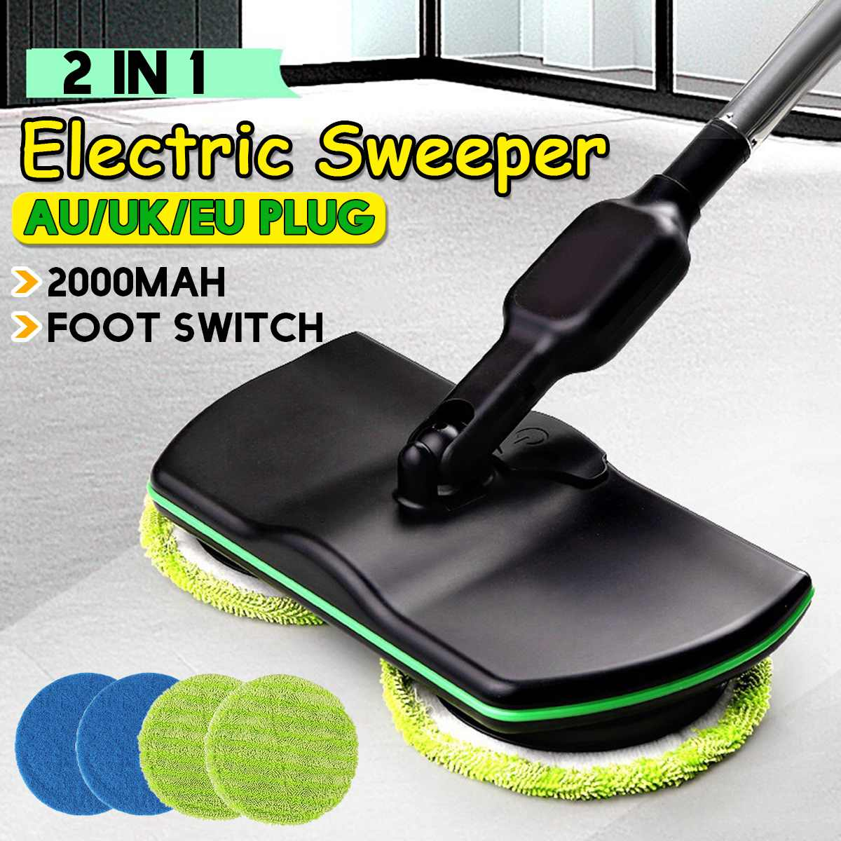 2 in 1 Rechargeable Electric Rotary Mop 360 Rotation Cordless Floor Cleaner Scrubber Polisher Microfiber Cleaning Mop for Home