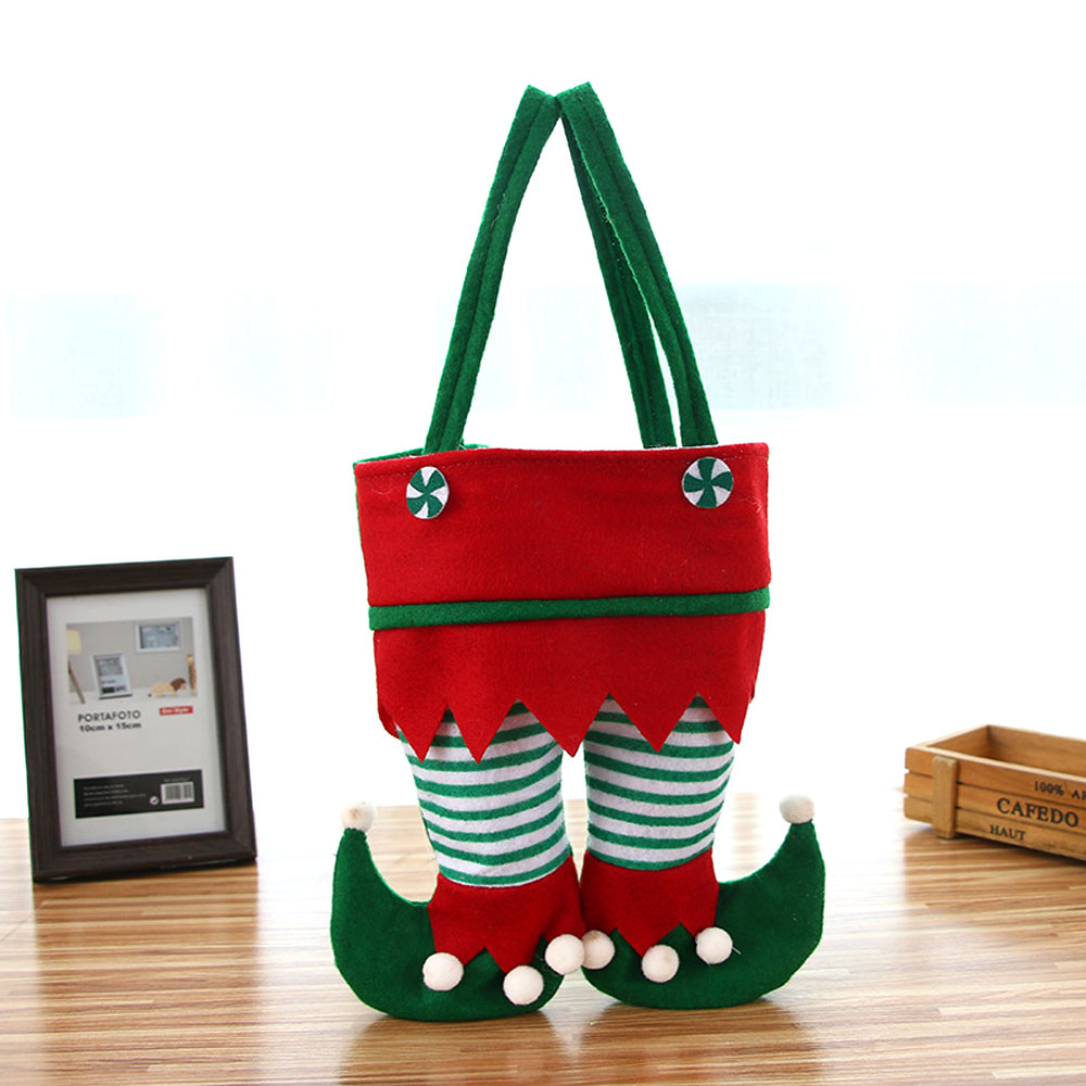New Christmas Elf Candy Bags Santa Elf Spirit Pants Treat Pocket Decor Beautiful Gift Candy Bottle Holiday Party Gifts Bags
