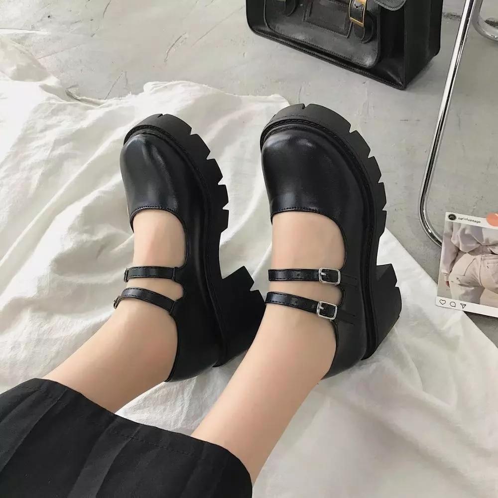 Mary Janes femme à lanière à la cheville Plat Lolita cour Vintage Bout Rond Doux Chaussures SZ