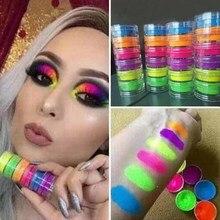 50pcs 6Boxes Neon Powder Eyeshadow Pigment Fluorenscence Nail Glitter Shinny Ombre Chrome Dust DIY Gel Polish For Nails Art