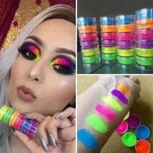 Neon phosphor pigmento em pó conjunto de unhas fluorescentes brilho olho em pó manicure decoração da arte do prego pó pigmento paillettes