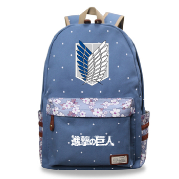Attack on Titan Printing Book Bag Unisex Canvas School Bags Girl's Daily Backpack Women Floral Backpack Cartoon Bookbag For Male hot style canvas drawstring bags animation jojo bizarre adventure assassin s creed attack on titan gravity falls backpack bag