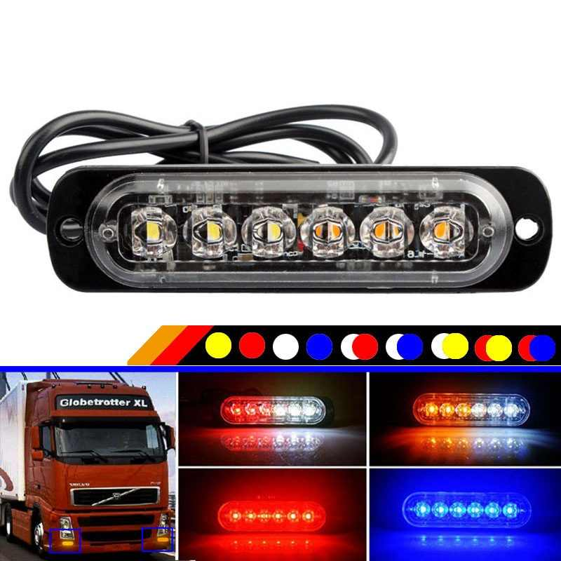 1pcs 2pcs 4pcs 6 Led Strobe אזהרת אור גריל מהבהב אור נגד התנגשות דק משאית רכב אות מנורת רמזור