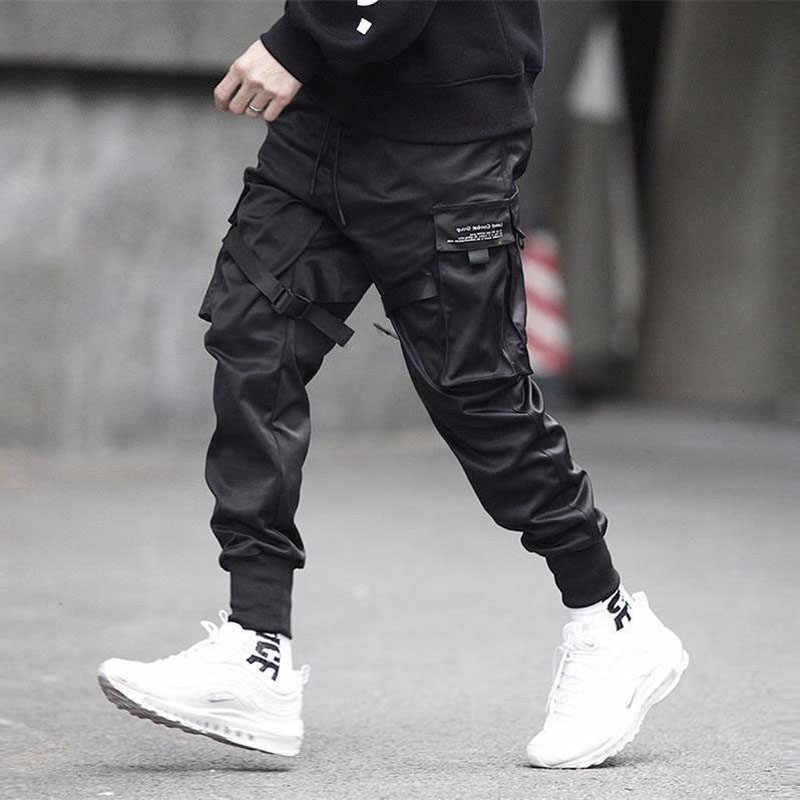 Pantalones Cargo para hombre, pantalones de chándal Harajuku con diseño de bloque de cintas negras y varios bolsillos 2020, pantalones casuales de Hip Hop para hombre