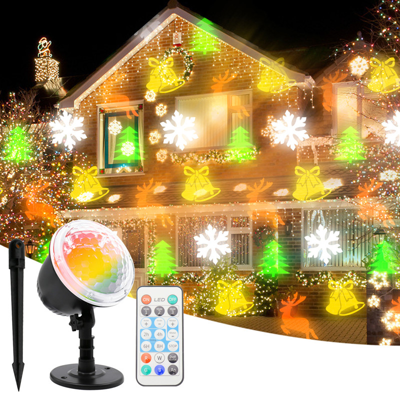 LED Christmas/Halloween Projection Lamp Outdoor Waterproof HD Pattern Christmas Decoration Lawn Garden Courtyar Projection Light
