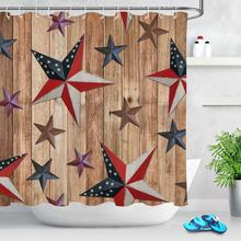 Texas Star American Flag Print Fabric Bathroom Curtains Rustic Wood Waterproof Shower Curtain Mildew Resistant Home Decor sunflower butterfly print fabric rustic wood shower curtain set yellow flower waterproof mildewproof bathroom shower curtains