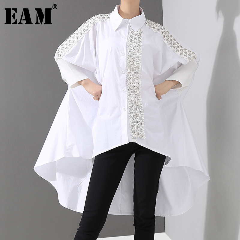 [EAM] Women White Back Long Hollow Out Big Size Blouse New Lapel Long Sleeve Loose Fit Shirt Fashion Spring Autumn 2020 JQ150