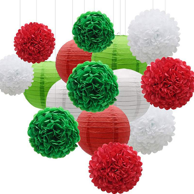 15pcs Mixed Paper Lanterns Sets Decorative Paper Pompoms Flower Hanging Honeycomb Balls Wedding Birthday Babyshower Party Decor