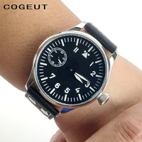 Corgeut 44MM Pilot Hand Winding Watch Seagull ST3600 Movement 6497 Fashion Leather Sport Luminous mens Mechanical wrist watch