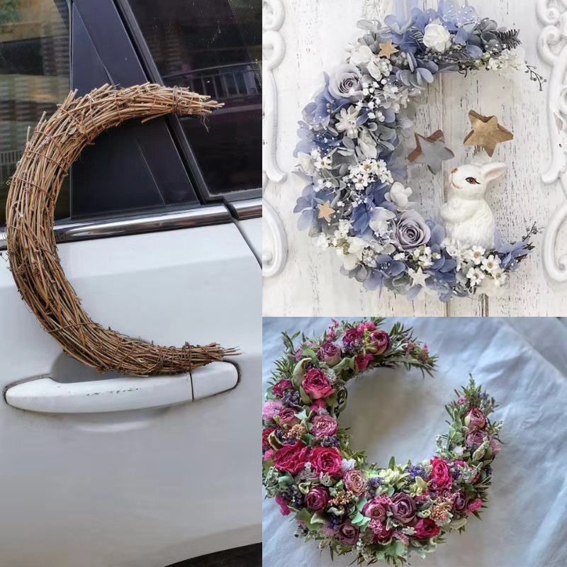 Hawaii Party Christmas Wreath Natural Rattan Wreath Base Door Decoration Crescent Shape Rattan Wreath Farmhouse Decoration image