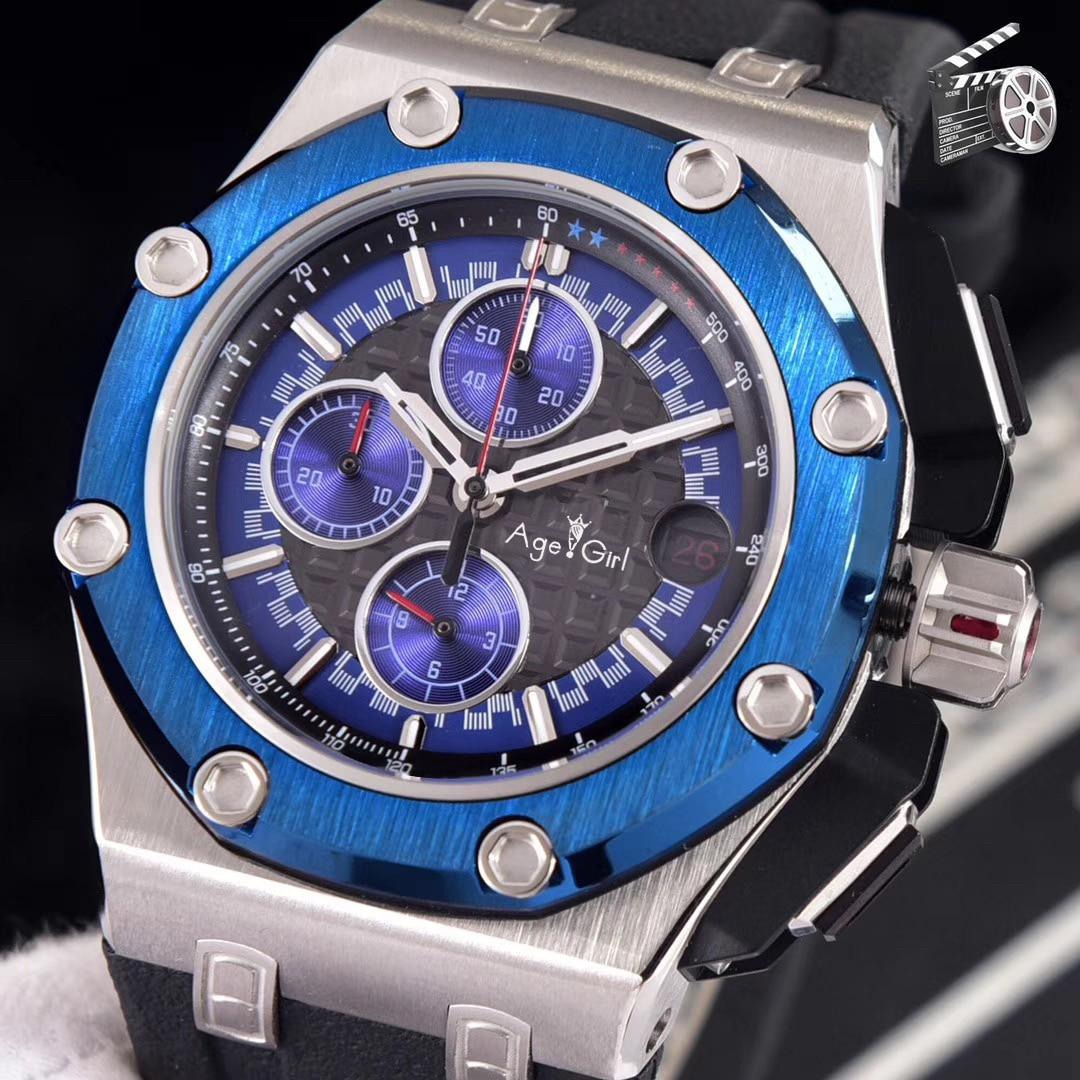 Marque de luxe hommes chronographe saphir chênes argent noir bleu vert chronomètre caoutchouc acier inoxydable montre Royal Limited AAA +