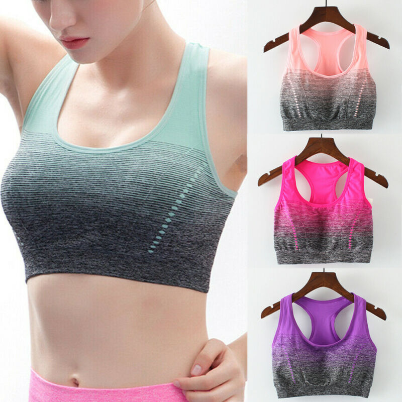Seamless Fitness Yoga Shirt Breathable Padded Bra Women Gym Sports Running Tops Patchwork Crop Top Woman Push Up Bra