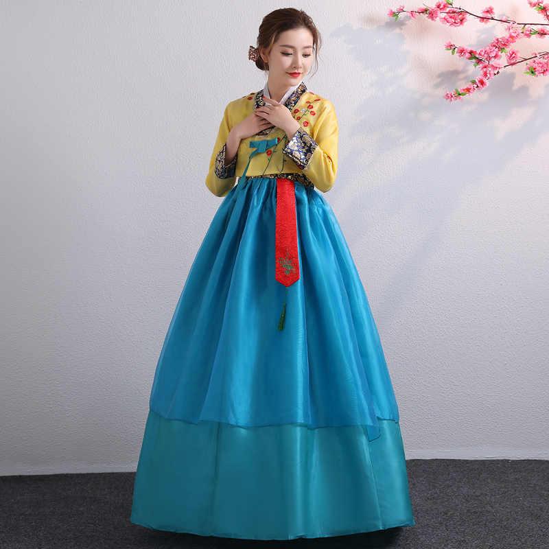 קוריאני Hanbok מסורתי ביצועים תלבושות עבור נשים אלגנטי Hanbok ארמון קוריאה חתונה Oriantal ריקוד תלבושות