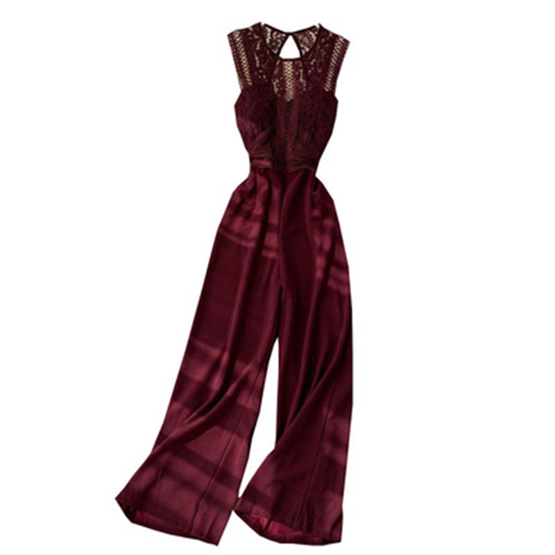 New Hollow Out Oversize Women's Jumpsuits In Summer  Wide Leg Pants Playsuits Sexy Lace Patchwork Female Long Jumpsuits Backless