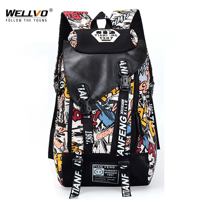 Graffiti Laptop <font><b>Backpack</b></font> Men Canvas School Bag Teenage Boys Large Cartoon Letters Printing <font><b>Backpacks</b></font> Travel Bags mochila XA1788C image