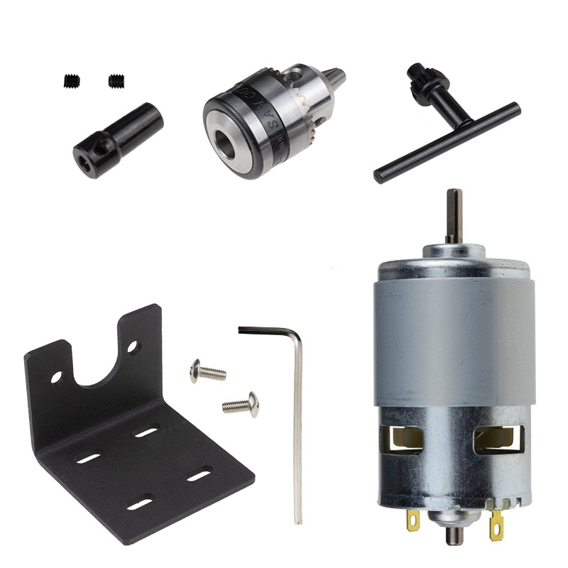 Dc 12-24V Lathe Press 775 Motor With Miniature Hand Drill Chuck And Mounting Bracket 775 Dc Motor 10000Rpm For Diy Assembly
