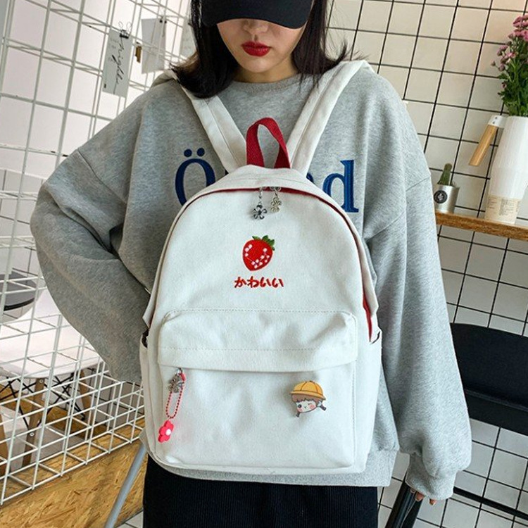 Women Backpack Travel Backpack 2019 Fashion Female Cute Fruits Print Zipper Students School Bags Canvas Backpacks Shoulder Bags