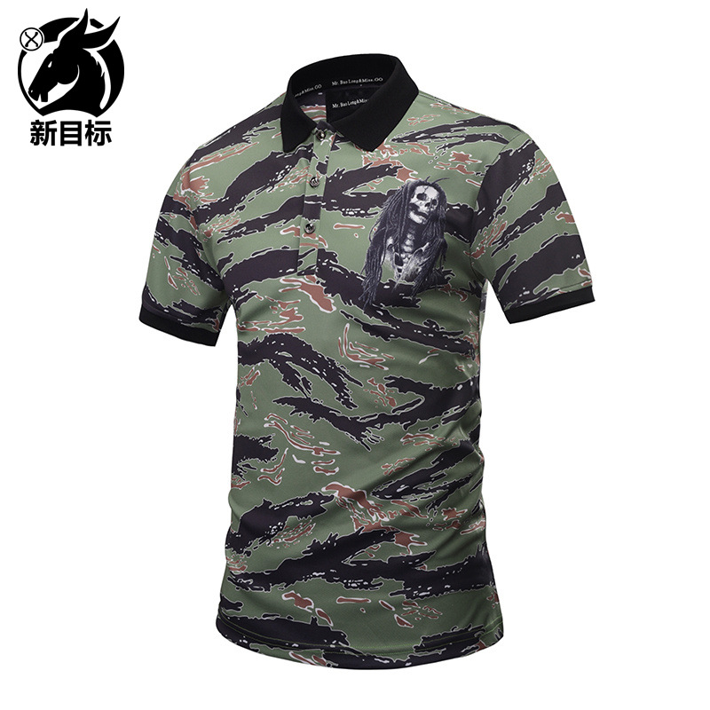 Foreign Trade Men'S Wear 2019 Summer New Style Creative 3D Striped Camouflage Printed   Polo   Shirt Popular Brand Youth Fashion Pol