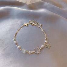 Delicate Gold Star Moon Pearl  Pendant  Bracelet For Women Party Daily Life Bangle  Lover Valentine's Day Gifts  Jewelry 2020 new korean vintage star and moon rhinestone bracelet for women gold pearl girl bracelet gifts fashion jewelry accessory
