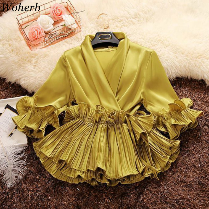 Woherb 2020 Spring Autumn Deep V-neck Ruffles Shirts Lace Up Chiffon Blouses Women's Elegant Office Blusas Ladies Pleated Tops
